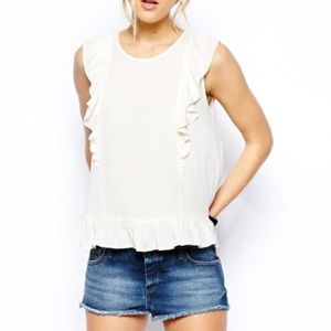 cream ruffle top from asos