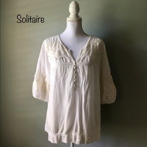 Solitaire Tops - Solitaire Ivory Lace Blouse size 2X