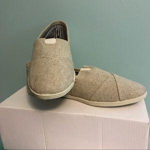 Shoes - Canvas beige slide on shoes