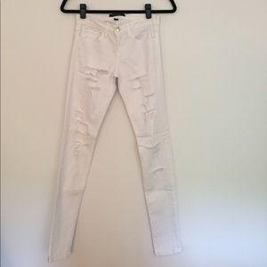 flying monkey Denim - white ripped skinny jeans