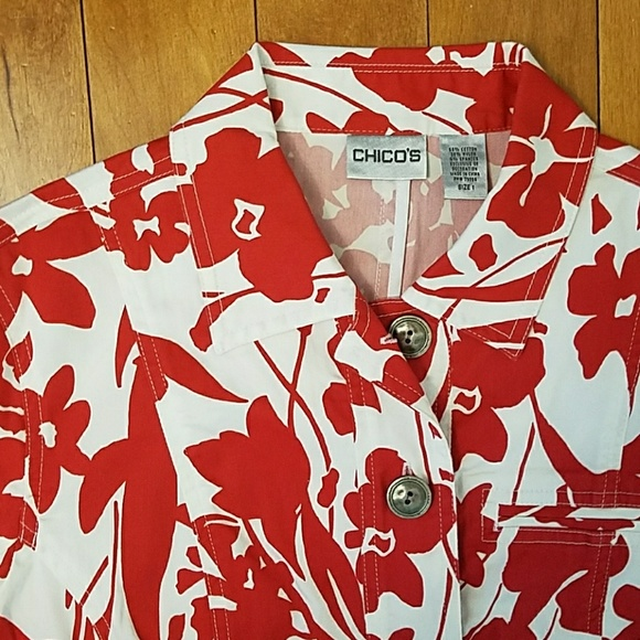 Chico's Jackets & Blazers - Chico's Red & White Floral Print Jacket