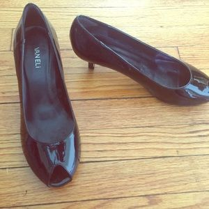 Vaneli Shoes - Black Patent Leather Vaneli Peep Toe Low Heels