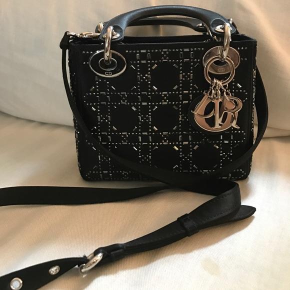 3a66df7c390 Christian Dior Handbags - RARE Dior Mini Lady Crystal Cannage Satin Handbag