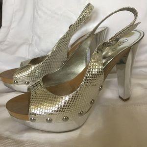 GUESS silver platform heels