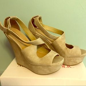 Shoes - Faux suede beige wedges