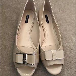 Alex Marie Shoes - Alex Marie Nude Open Toe Leather Pumps size 9