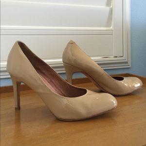 Corso Como Shoes - Patent Leather Nude Heels Pumps