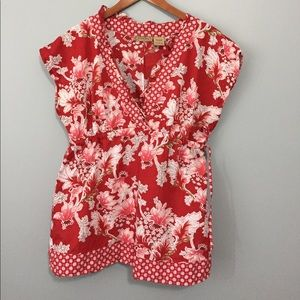Art And Soul Tops - Art and Soul Red Floral Shirt