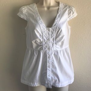Odille Tops - Anthropologie Odille V-Neck Button Up Peplum Top