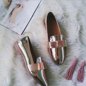 Strut! Shoes - //The Lolita// Rose Gold bow Loafer