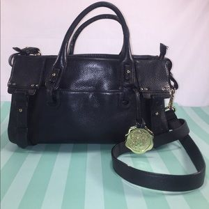 VINCE CAMUTO Black Pebbled Leather Satchel