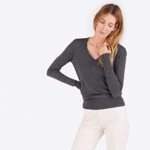 Everlane Sweaters - Everlane Luxe Wool Charcoal Grey V Neck Sweater