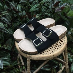 Qupid Shoes - Qupid Black 'Birkenstock Style' Sandals
