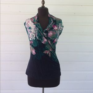 Anthropologie Tops - Anthropologie Deletta Floral Tank Top Faux Wrap
