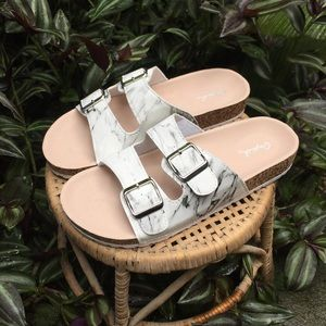 Qupid Shoes - Qupid Marble 'Birkenstock Style' Sandals