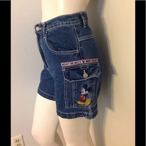 Vintage Mickey Mouse Cargo Jean Shorts S