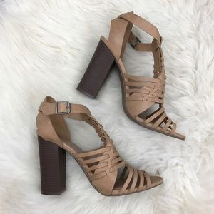 Merona Shoes - Merona Brown Strappy Cut Out Leather Sandals