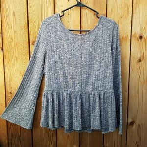 Altar'd State Tops - Altar'd State Gray Ribbed Peplym Bell Sleeve Top