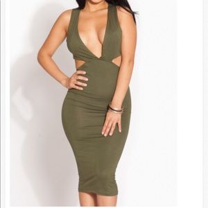 Green cutout midi dress