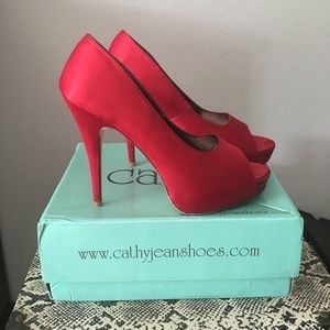 Cathy Jean Shoes - Cathy Jean Red Satin Heels Size 8