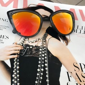 Style Link Miami Accessories - ORANGE MORROR LENS CATEYE SUNGLASSES
