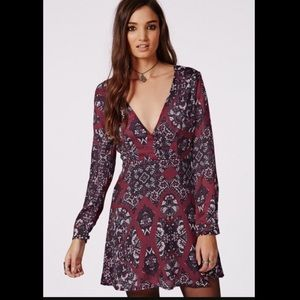 Missguided Dresses & Skirts - Misguided Maroon Print Long Sleeve Skater Dress