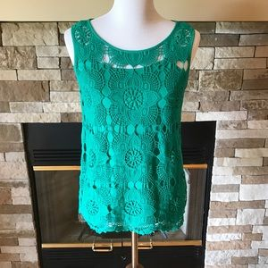 Adiva Tops - Green/Teal Layered Lace Tank Top