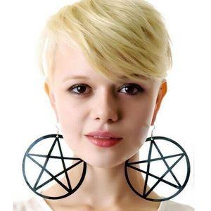 Hot Topic Jewelry - Goth Glam Large Pentagram Black Cutout Earrings