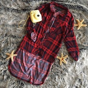 Polly & Esther Tops - Red and Navy Blue Flannel