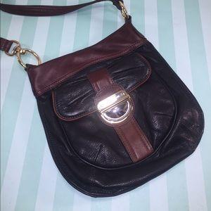 B.MAKOWSKY Black &Brown Pebbled Leather Crossbody