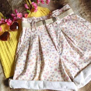 Vintage Pants - Vintage Pastel Floral High Waisted Shorts