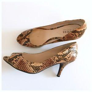 Peep Toe Snake Print Heels by Guess, 8M