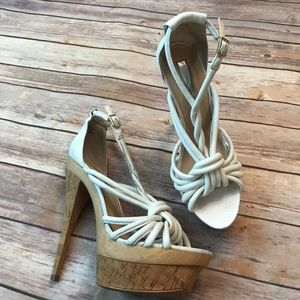 H by Halston Shoes - Cork Platform Strappy Summer Sandals