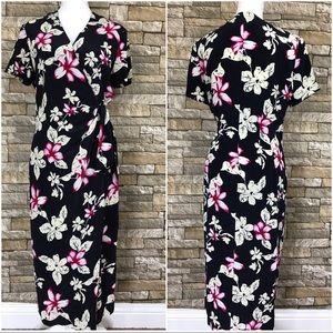 Safe Silk Adrianna Papell Navy Faux Wrap Dress