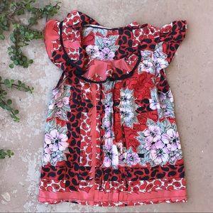 Odille Anthropologie Silk Floral Flutter Blouse