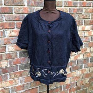 Koret Jackets & Blazers - 🆕Navy Blue Embroidered Short Sleeve Jacket