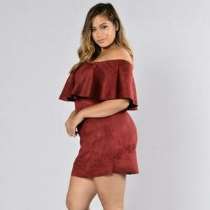 Fashion Nova Dresses & Skirts - Suede burgundy dress