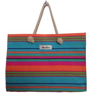 Neiman Marcus Handbags - NWT [Neiman Marcus] Striped Canvas Tote Bag Beach