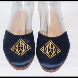Ralph Lauren Purple Label Shoes - Ralph Lauren Blue Satin Silk Sides with Monogram