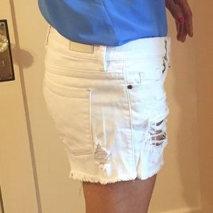 White Ripped Blank NYC Shorts