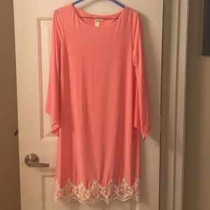 emma and michele Dresses & Skirts - Coral and lace trim dress.