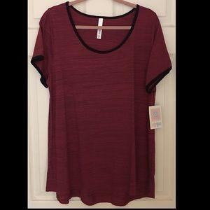 LuLaRoe Classic T Tshirt 2X Red Black Trim NWT