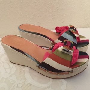 New Coach Striped Bow Wedge Sandals Sz 9