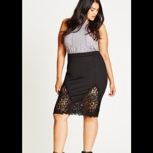 City Chic Dresses & Skirts - 🆕 Black Lacey Skirt
