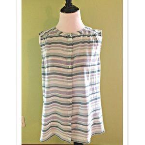 LOFT Sleeveless Striped Button Down Blouse