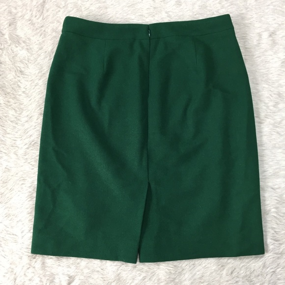 j crew j crew the pencil skirt emerald wool blend 10