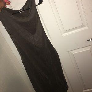 Olive suede dress