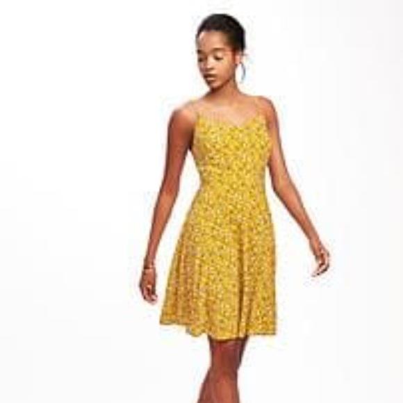 c5ffa5ed8fe Old Navy Yellow Floral Fit   Flare Cami Dress M. M 592620b741b4e081dd00cd15