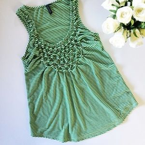 Anthropologie Button Seeds green striped tank top