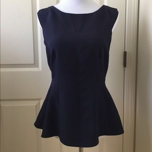 Alice Blue Tops - Navy blue sleeveless, tailored blouse